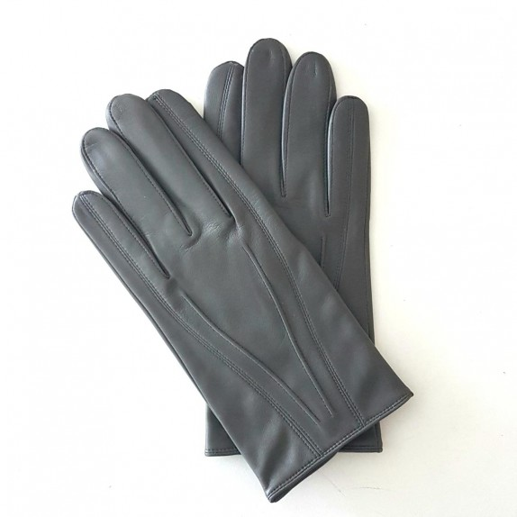 "Leather gloves of lamb charcoal ""STEEVE""."