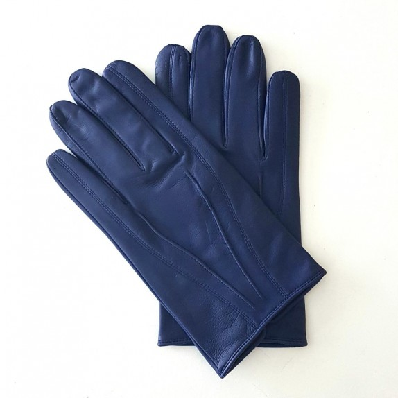"Leather gloves of lamb blue berry ""STEEVE""."