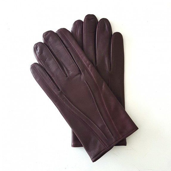 "Leather gloves of lamb burgundy ""STEEVE""."