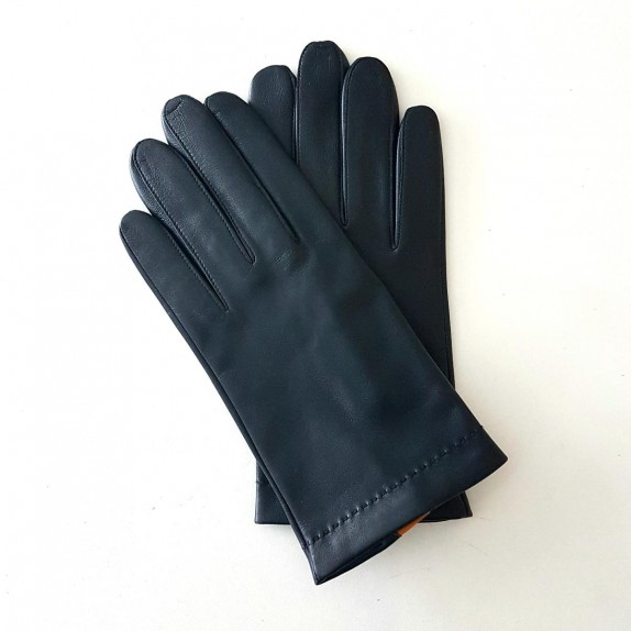 "Leather gloves of lamb navy maize ""MARTIN""."