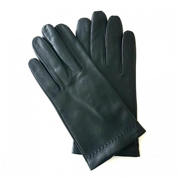 """Leather gloves of lamb black and red hermes """"MARTIN""""."""