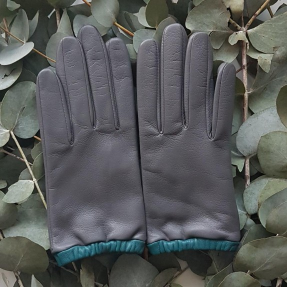 """Leather gloves of lamb charcoal petrol """"JACQUELINE""""."""