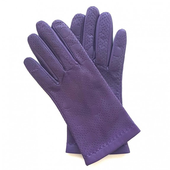 "Leather gloves of lamb purple ""CARMELINA""."
