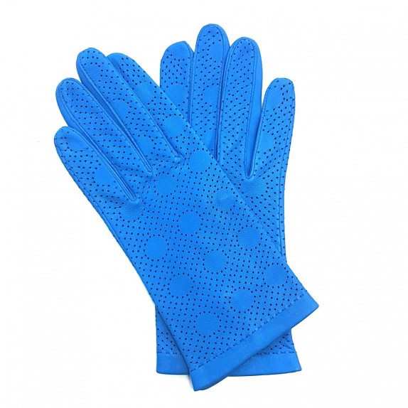"Leather gloves of lamb blue of France ""CARMELINA""."