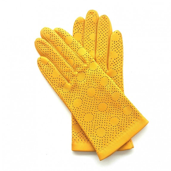 "Leather gloves of lamb yellow ""CARMELINA""."
