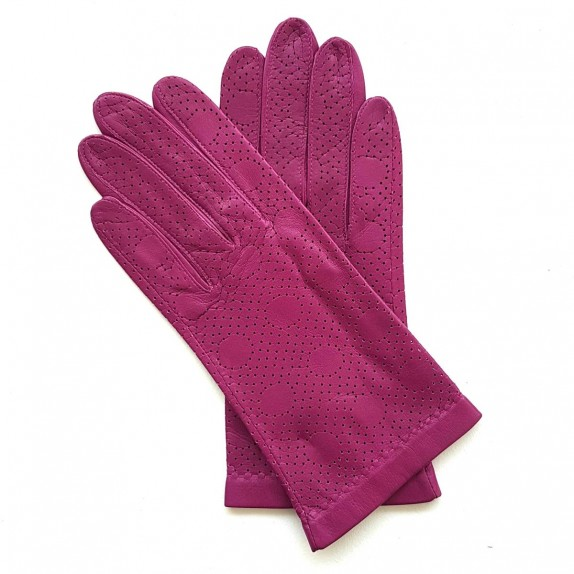 "Leather gloves of lamb hot pink ""CARMELINA""."