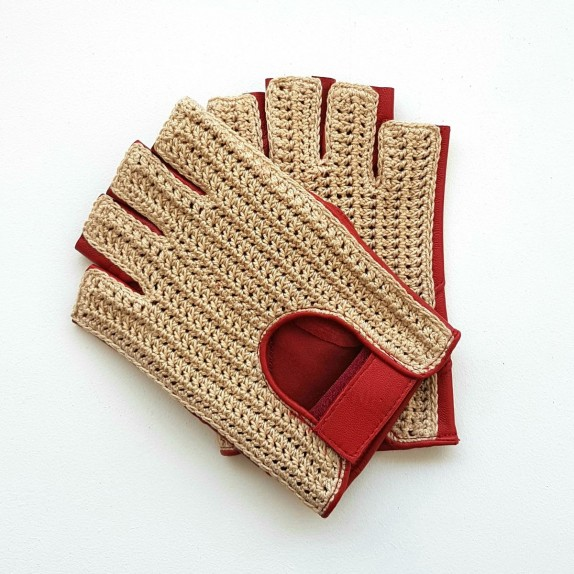 "Leather mittens and cotton hook red and écru ""PILOTE"""