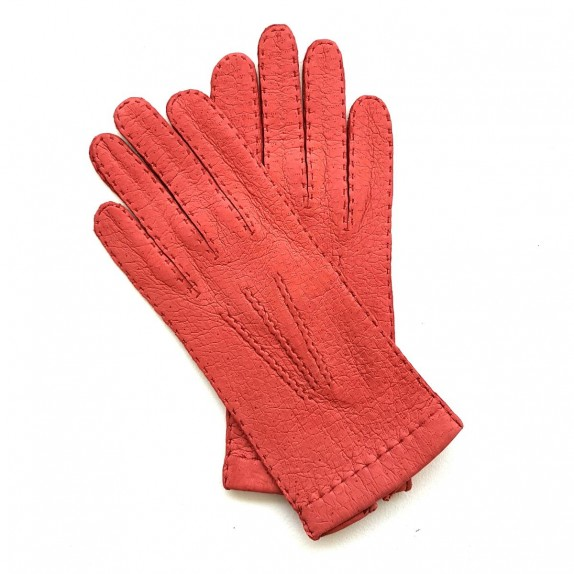 "Leather Gloves of lamb vermilion ""PATT""."