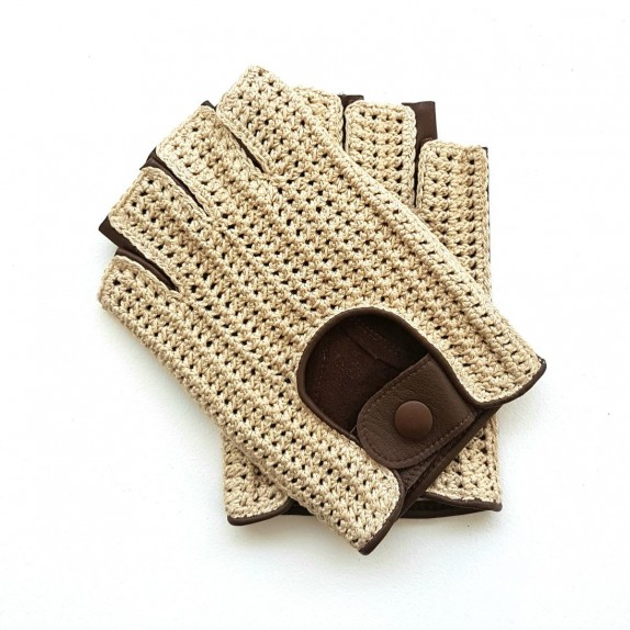 "Leather mittens and cotton hook beige and havana ""PILOTE"""