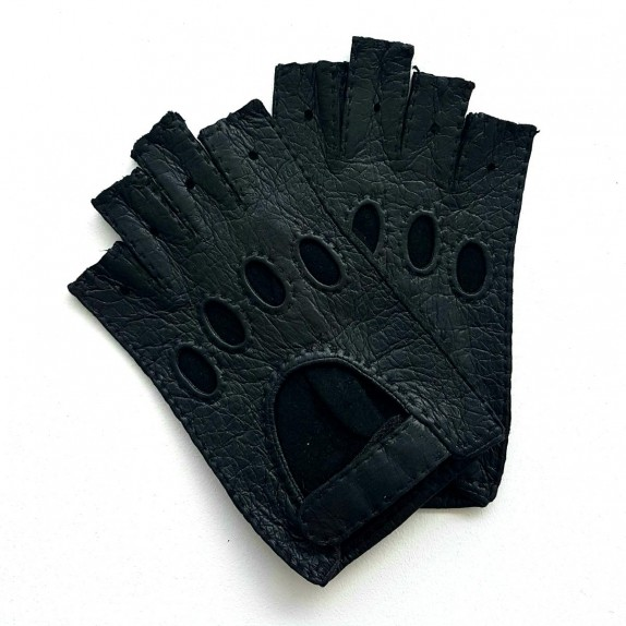 "Leather mittens of peccary black ""MARLENE""."