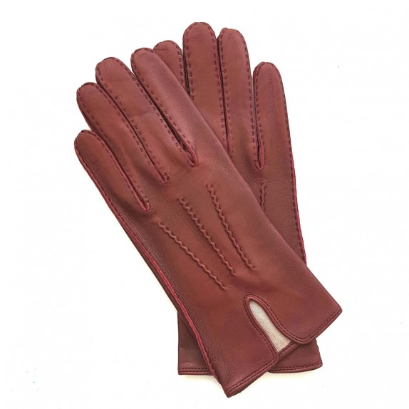 "Leather gloves of dark red ""GISELE"""