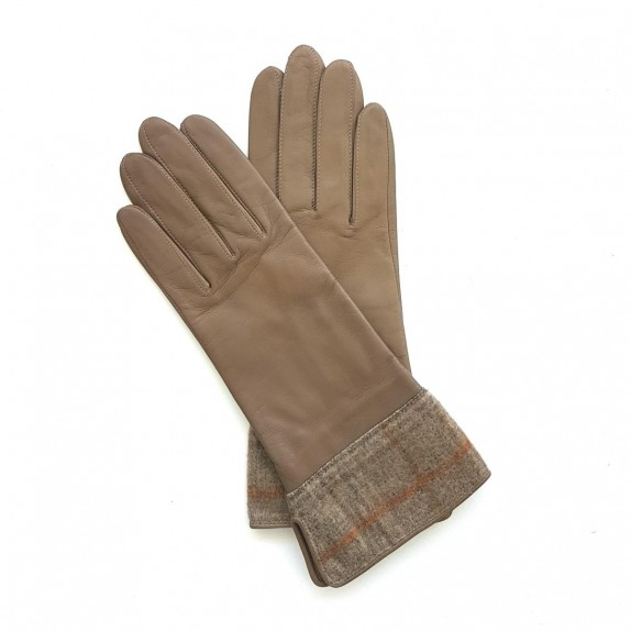 "Leather gloves of lamb and wool sand ""MARIA"""