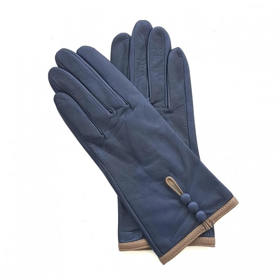 "Leather gloves of lamb damson and sand ""MARGUERITTE"""