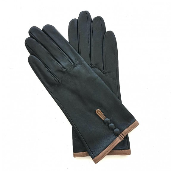"Leather gloves of lamb red and black ""MARGUERITTE"""