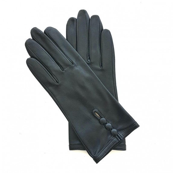 "Leather gloves of lamb black ""MARGUERITTE"""