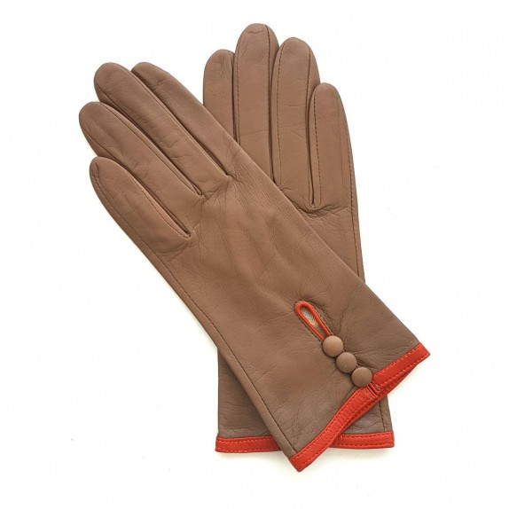 "Leather gloves of lamb clay and orange ""MARGUERITTE"""