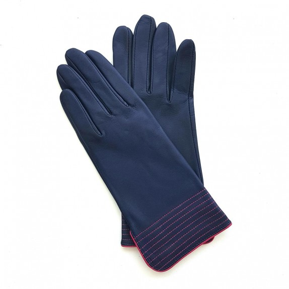 "Leather gloves of lamb damson and hot pink ""FENELON"""