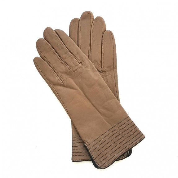 "Leather gloves of lamb sand and black ""FENELON"""