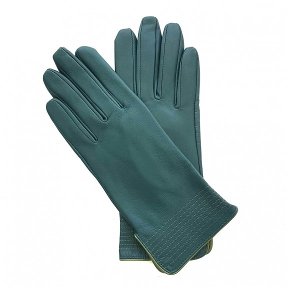 "Leather gloves of lamb green and clover ""FENELON"""