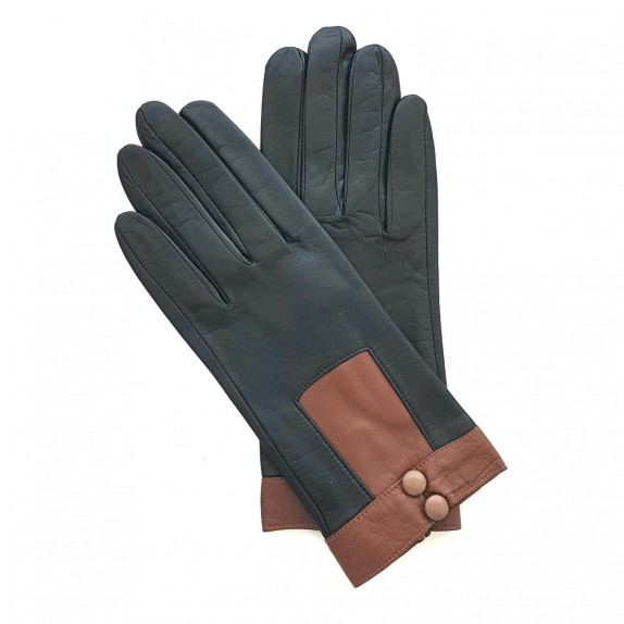 """Leather gloves of lamb black and cognac """"JOSEPHA"""""""