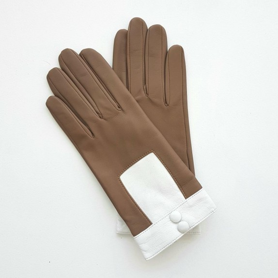 """Leather gloves of lamb sand and white """"JOSEPHA"""""""