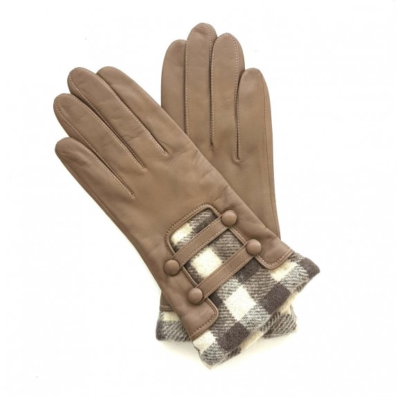 "Leather gloves of lamb sand and white ""JOSEPHA"""