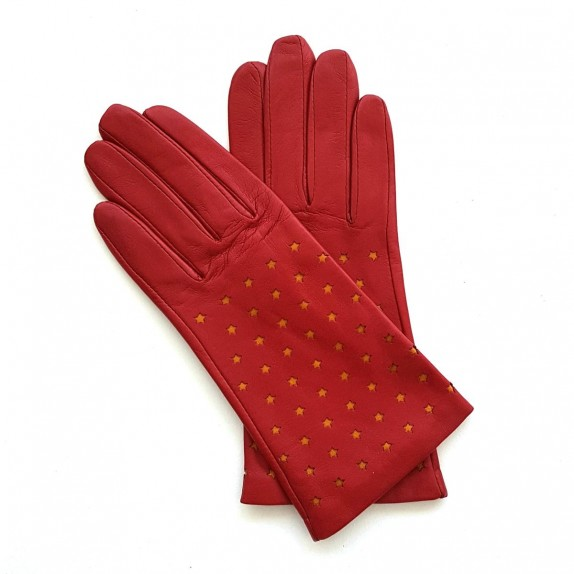 """Leather gloves of lamb pj red maize """"SEREN""""."""