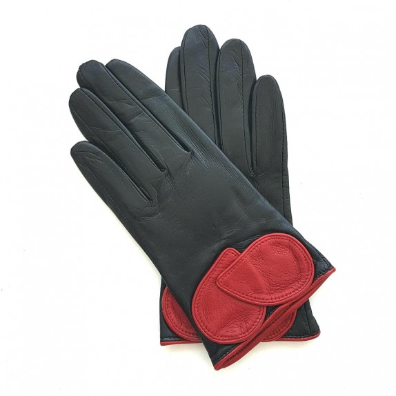 """Leather gloves of lambblack and pj red """"PEUPLIER""""."""