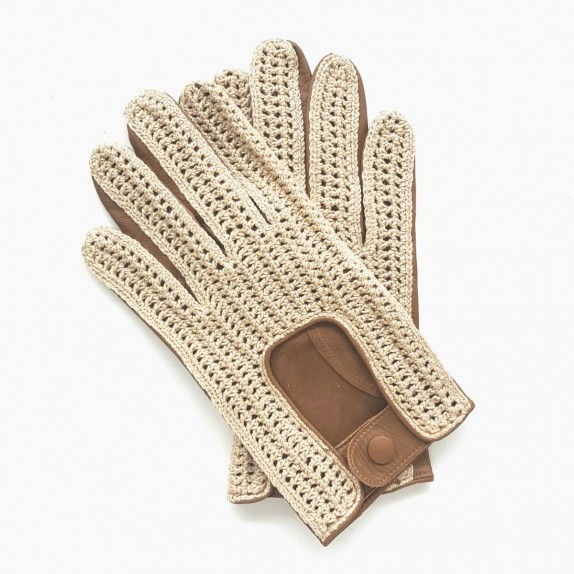 "Leather gloves of lamb and cotton hook caramel and beige ""AUGUSTIN"""