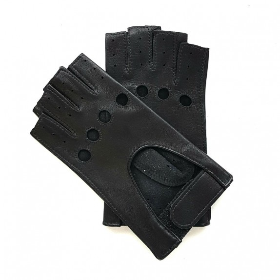 "Leather mittens of lamb black "" PILOTE"""