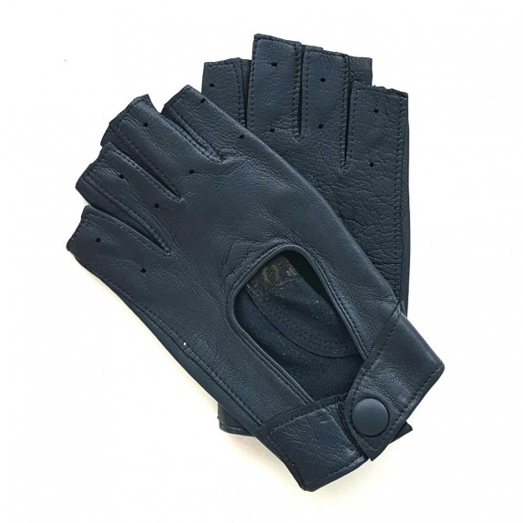 "Leather mittens of lamb navy blue ""PILOTE""."