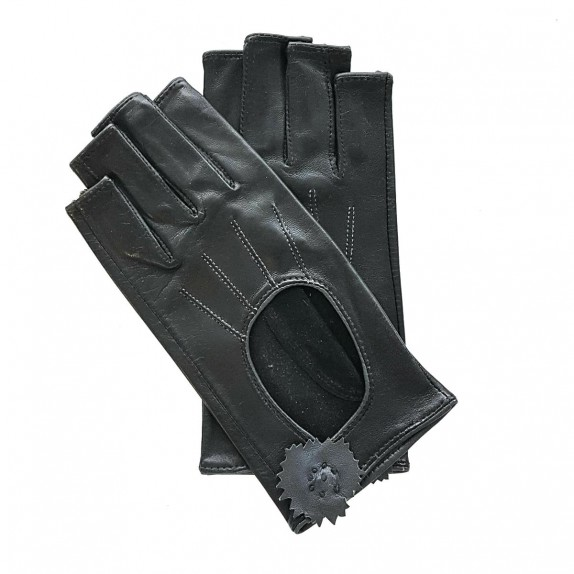 """Leather mittens of lamb black and grey """"DANICA""""."""