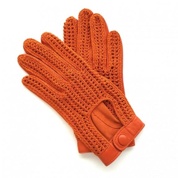 """Gants en cuir d'agneau et crochet coton orange """"ALFREDINE""""."""