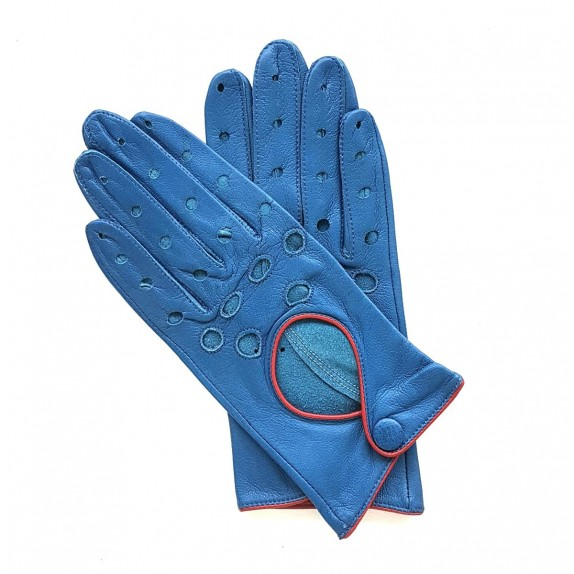 "Leather gloves of lamb blue and red ""MARTINE""."