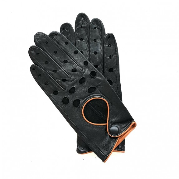 "Leather gloves of lamb black and brown ""MARTINE""."