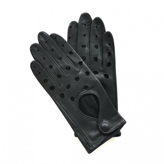 "Leather gloves of lamb black ""MARTINE""."