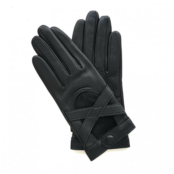 "Leather gloves of lamb black ""ANASTASIE"""