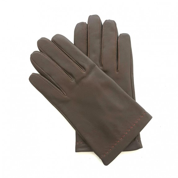 "Leather gloves in lamb brown and orange ""RAPHAËL""."