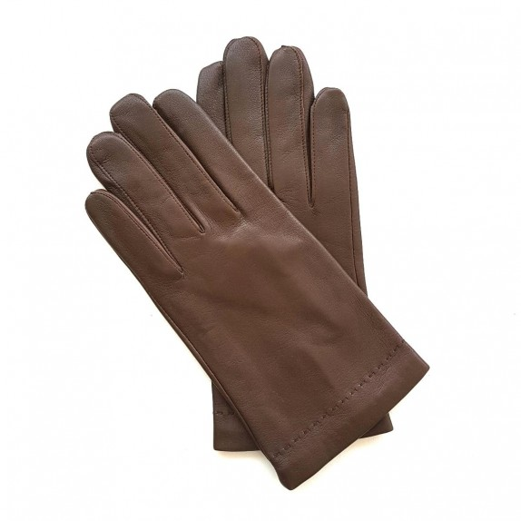"Leather gloves of lamb chocolate ""RAPHAËL""."