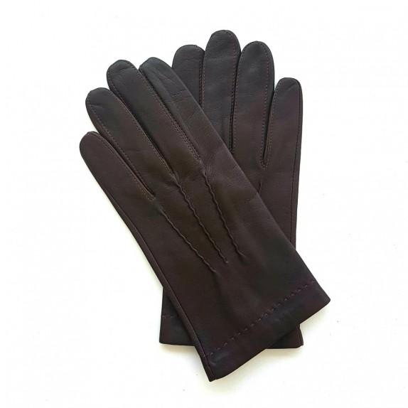 "Leather gloves of lamb chocolate ""HENRI"""