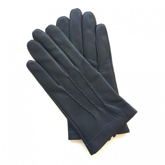 "Leather gloves of lamb navy and charcoal ""HENRI"""