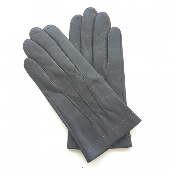 "Leather gloves of lamb charcoal and caramel ""HENRI"""