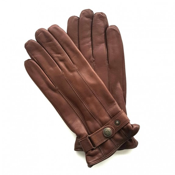 "Leather gloves of lamb chocolate ""JULES"""