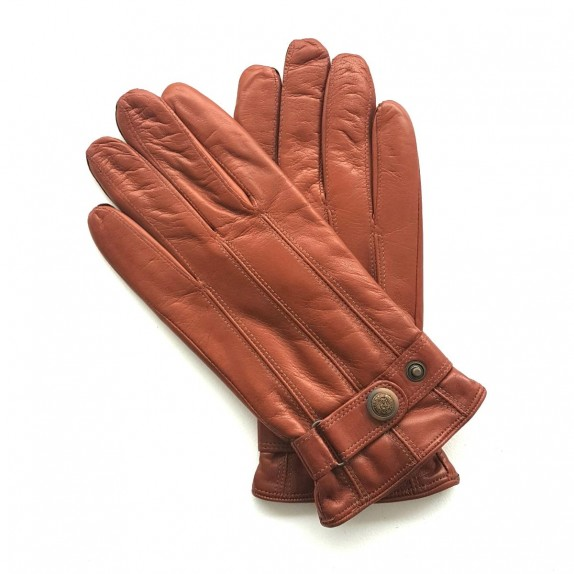 "Leather gloves of lamb cognac ""JULES"""