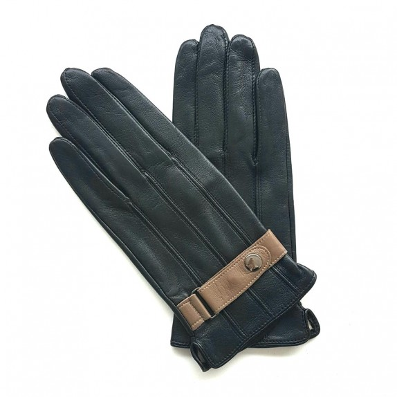 "Leather gloves of lamb black and sand ""BASILE"""