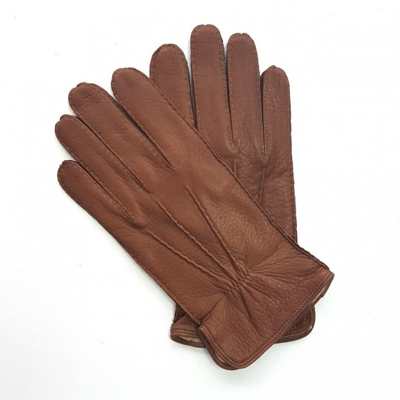"Leather gloves of deer chocolate "" MARC """