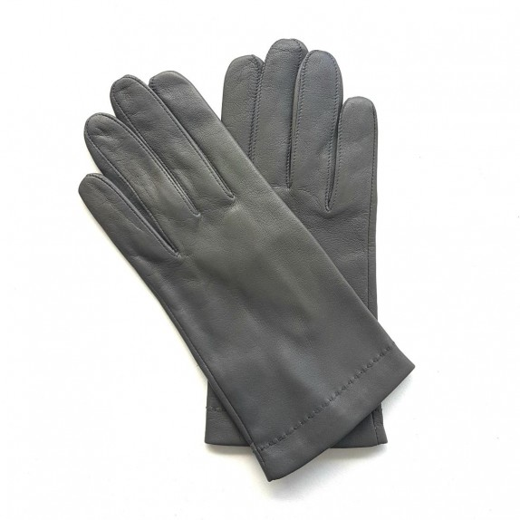 "Leather Gloves of lamb grey navy ""MARTIN"""