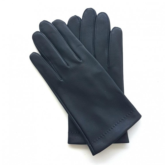"Leather gloves of lamb navy and charcoal ""MARTIN"""