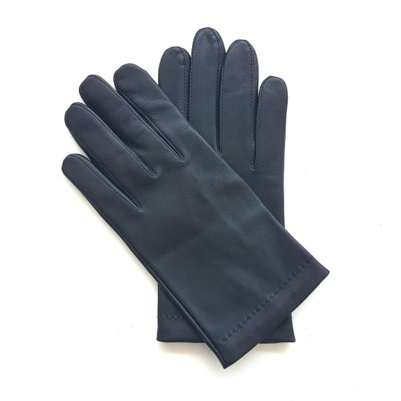 "Leather gloves of lamb navy and red  ""MARTIN"""
