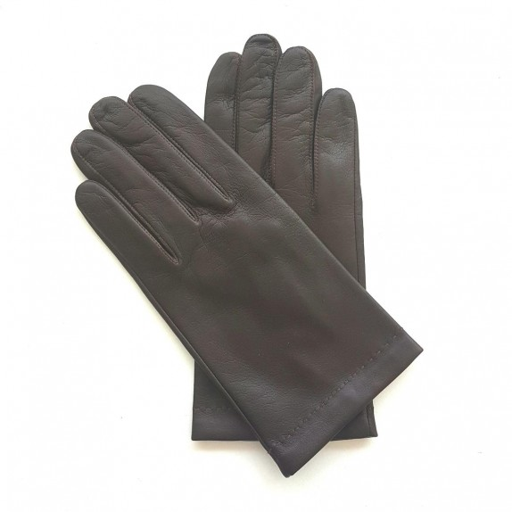 "Leather gloves of lamb brown and orange ""MARTIN""."